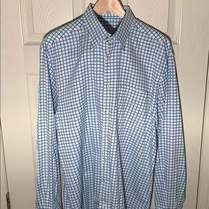 Men's L 36 16.5 Light Blue Checked Dress Shirt